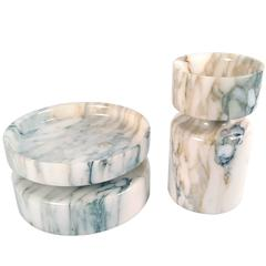Angelo Mangiarotti Reversible Solid Calcatta Marble Vessels for Knoll