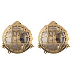 Pair of Brass Ship's Bulkhead Light Fixture, Mid-Century