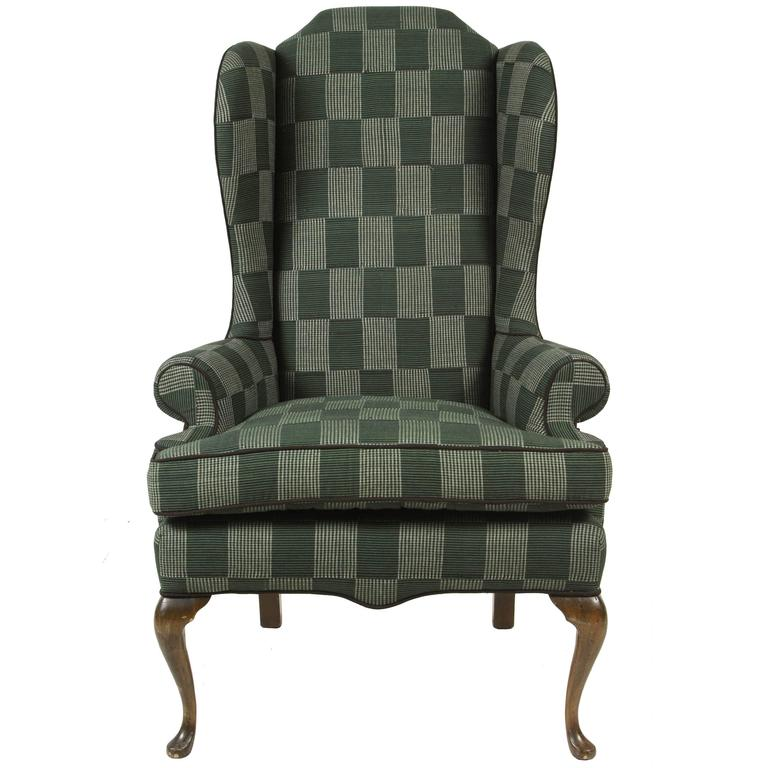 Classical Wing Chair Reupholstered In Green Plaid African