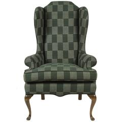Classical Wing Chair Reupholstered in Green Plaid African Fabric