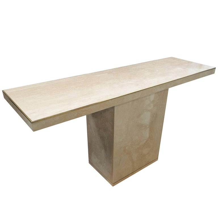 Travertine and Brass Console Table by Cain Modern For Sale