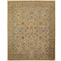 Antique Hand Knotted  Wool Gold Green Indian Agra Rug