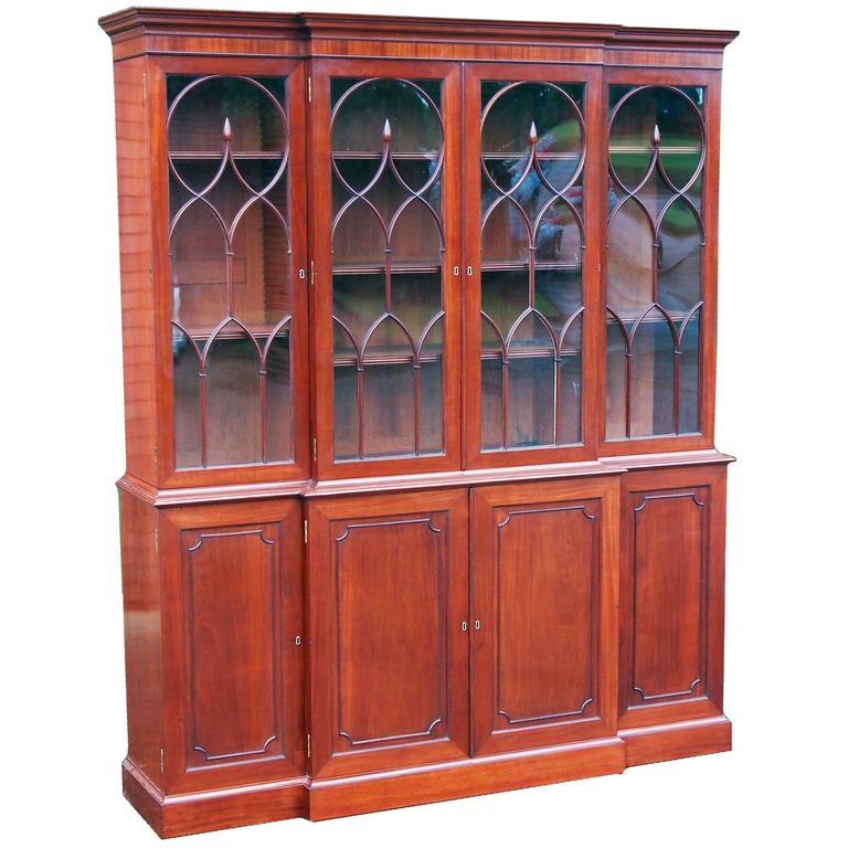 Antique Georgian Mahogany Breakfront Bookcase For Sale At