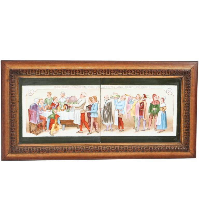 Vintage Framed Tile Painting of Macbeth Scene