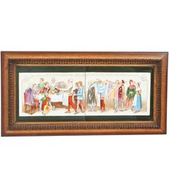 Vintage Framed Tile Painting of Macbeth Scene