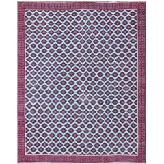 Large Vintage Cotton Dhurrie with Geometric Diamond Motifs in Blue, Red & Cream