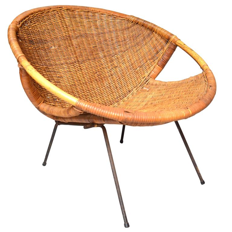 Attrayant Rattan And Iron Scoop Chair For Sale