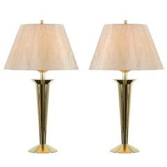 Restored Pair of Sleek Vintage Modern Lamps in Brass
