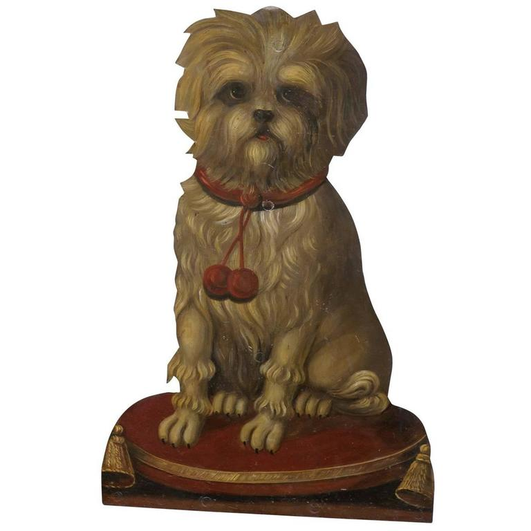 Painted Terrier Tole Umbrella Stand with Trompe l'oeil from 19th Century England