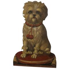 English late 19th Century Painted Terrier Tôle Umbrella Stand with Trompe-l'œil