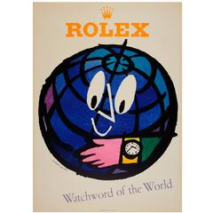 """Original 1950s Watch Advertising Poster by Leupin """"Rolex Watchword of the World"""""""