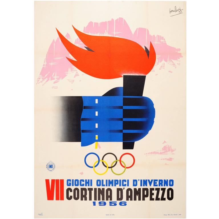 Original Vintage 1956 Winter Sport Poster, VII Olympic Games, Cortina, Italy For Sale