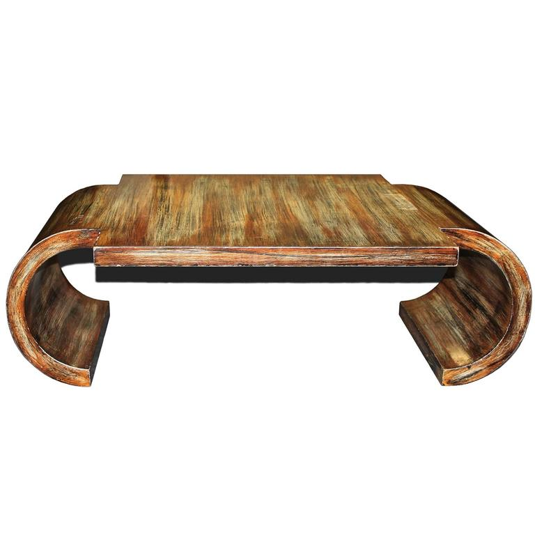 James Mont 20th Century Scroll Coffee Table With Polychrome Finish At 1stdibs