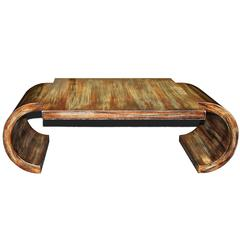 James Mont 20th Century Scroll Coffee Table with Polychrome Finish