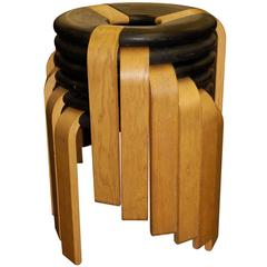Mid-20th Century Set of Six Stacking Wooden Stools