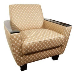 Art Deco Club Chair with Lacquer Armrests and Taupe Upholstery