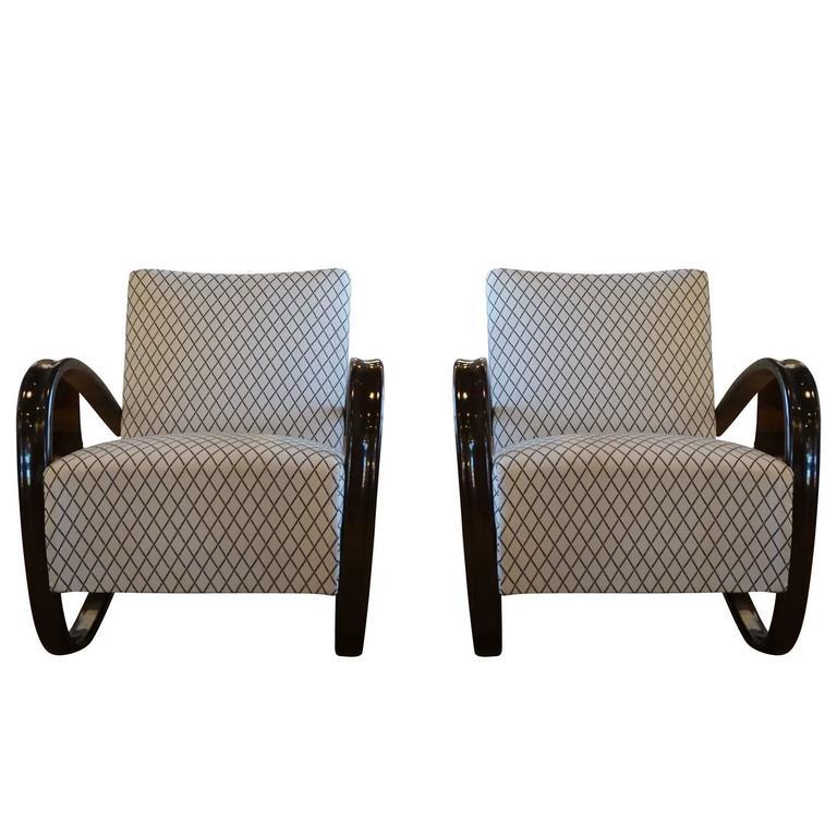 20th Century Beech bent wood Pair of Lounge Chairs, Jindrich Halabala