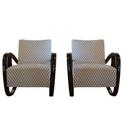 20th Century Beech bent wood Pair of Lounge Chairs, Jindrich Halabala