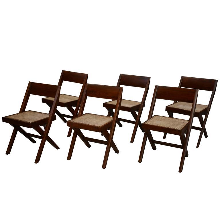 Pierre Jeanneret Unique Set of Six Library Chairs