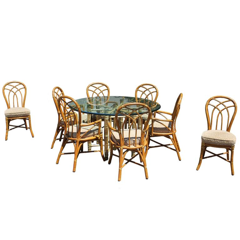Gorgeous McGuire Dining Set Bamboo Rattan Brass Signed Table And Eight  Chairs For Sale