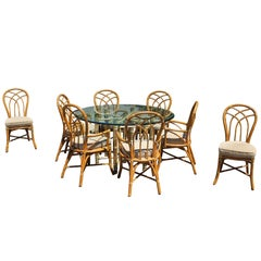 Gorgeous McGuire Dining Set Bamboo Rattan Brass Signed Table and Eight Chairs