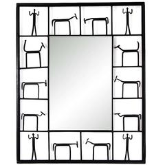 Whimsical Iron Framed Mirror by Frederick Weinberg (pair available)