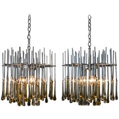 Pair of Murano Teardrop Chandeliers with Amber and Clear Drops