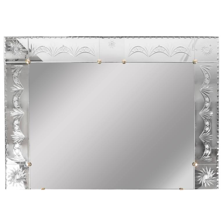 1940s Venetian Mirror with Reverse Etched and Chain Beveled Detailing