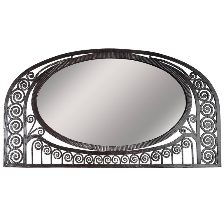 Art Deco Wrought Iron Mirror with Scroll Detailing in the Manner of Edgar Brandt
