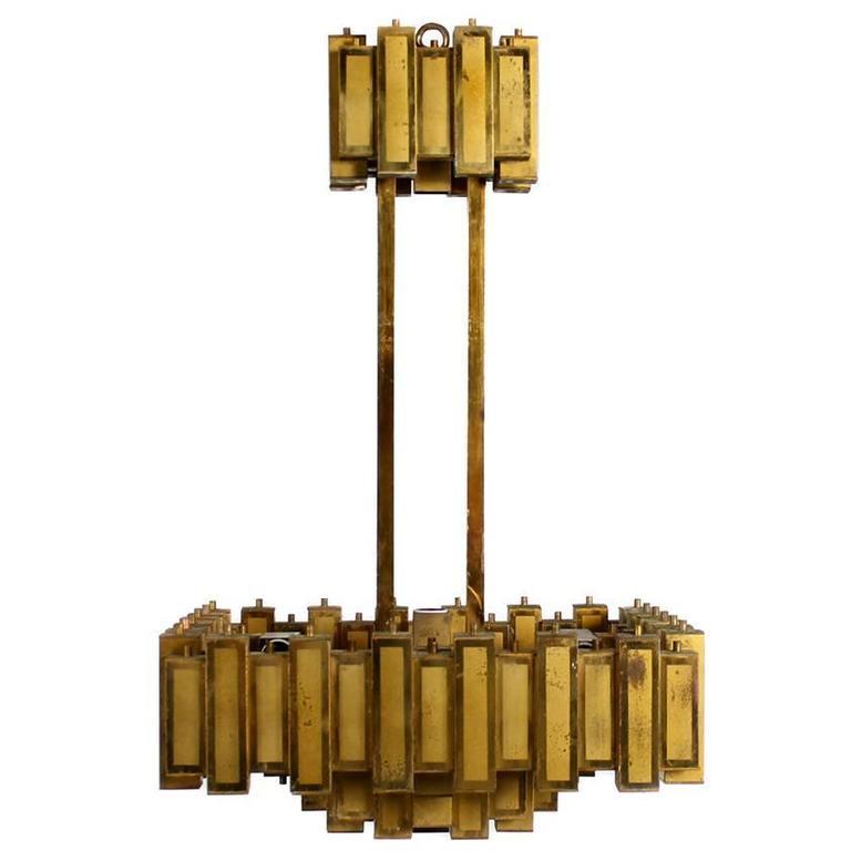 Geometric Brass Chandelier: Amazing Italian Geometric Mid-Century 1950s Brutalist