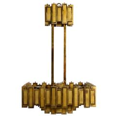 Amazing Italian Geometric Mid-Century 1950s Brutalist Brass Vintage Chandelier