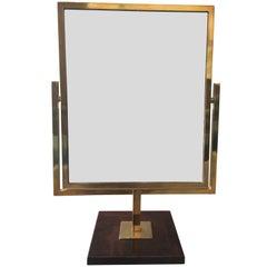 Brass and Burlwood, Double Sided Vanity Mirror by Charles Hollis Jones