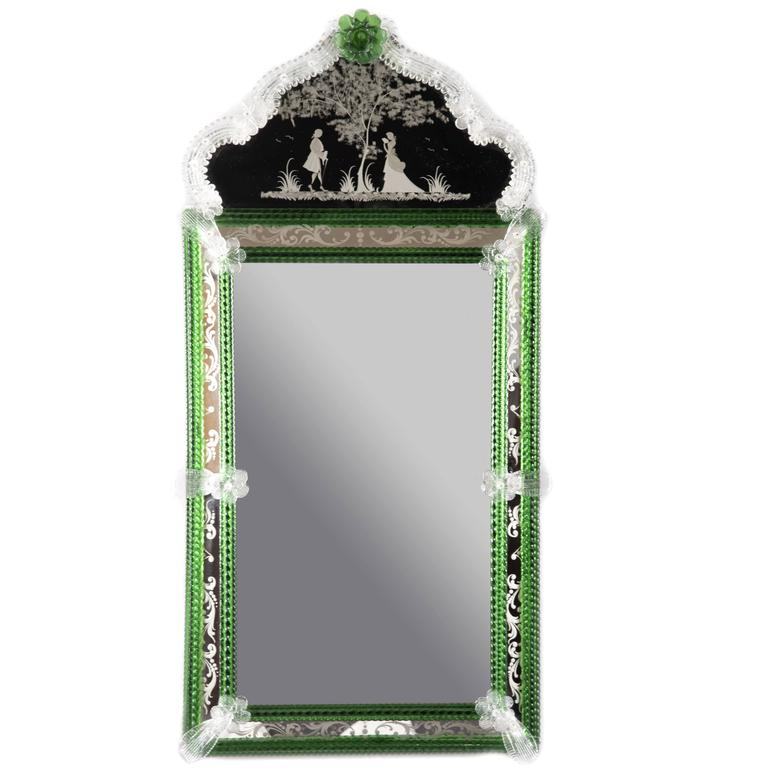 Venetian murano glass wall mirror at 1stdibs for Glass mirrors for walls