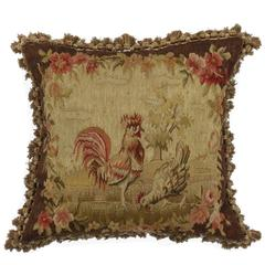 Late 19th Century Antique European Tapestry Pillow with Roosters