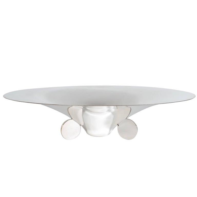 Sculptural German Art Deco Silver Plate Center Bowl by Ikora For Sale
