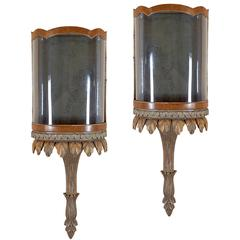 Large Pair of Regency Style Walnut and Gilt Wall Displays