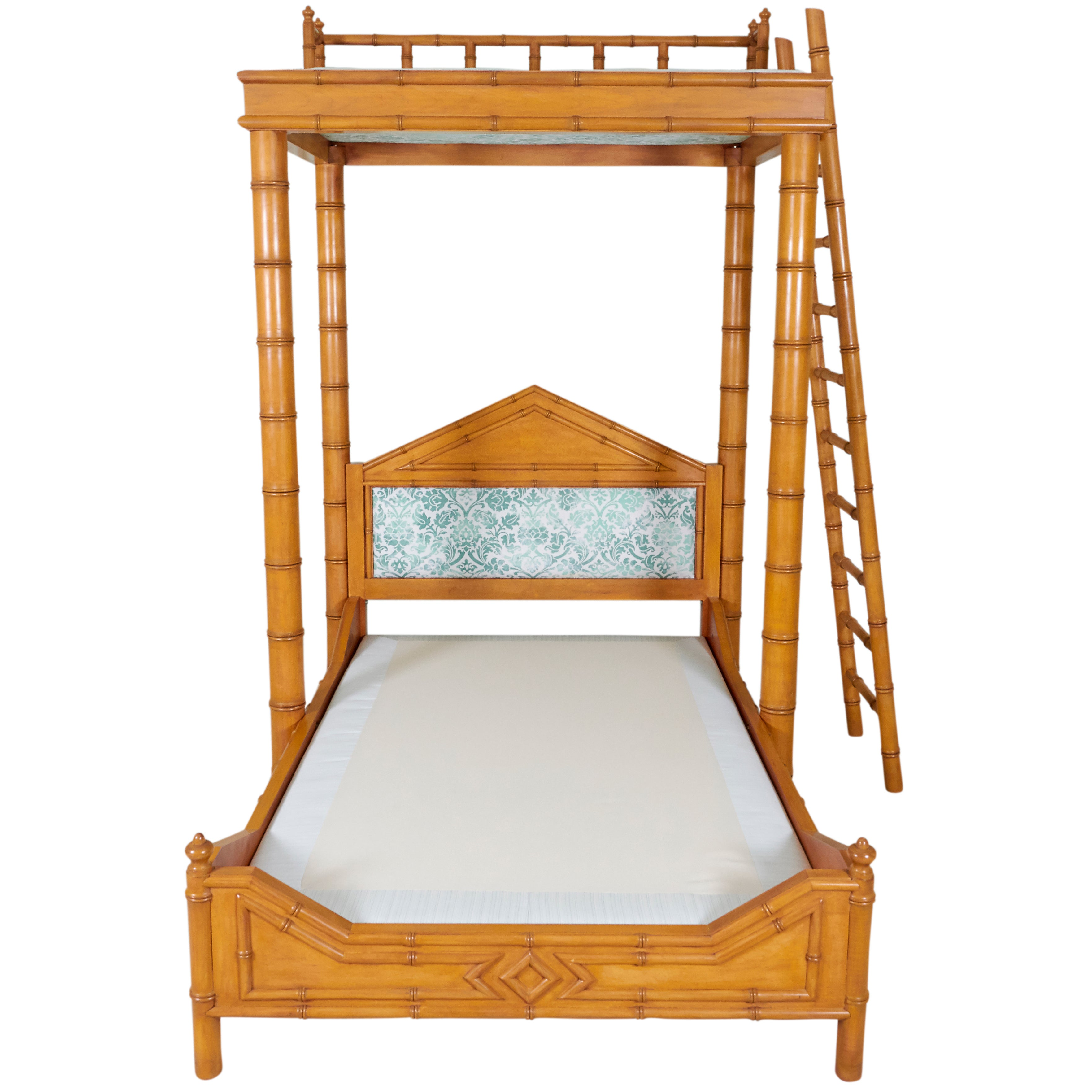 Faux Bamboo Bed with Platform Canopy For Sale at 1stdibs