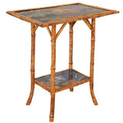 English Bamboo Occasional Table with Floral Decoration