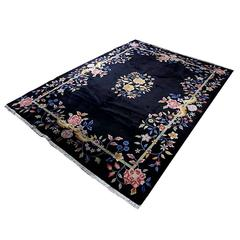 Black Antique Chinese Deco Rug