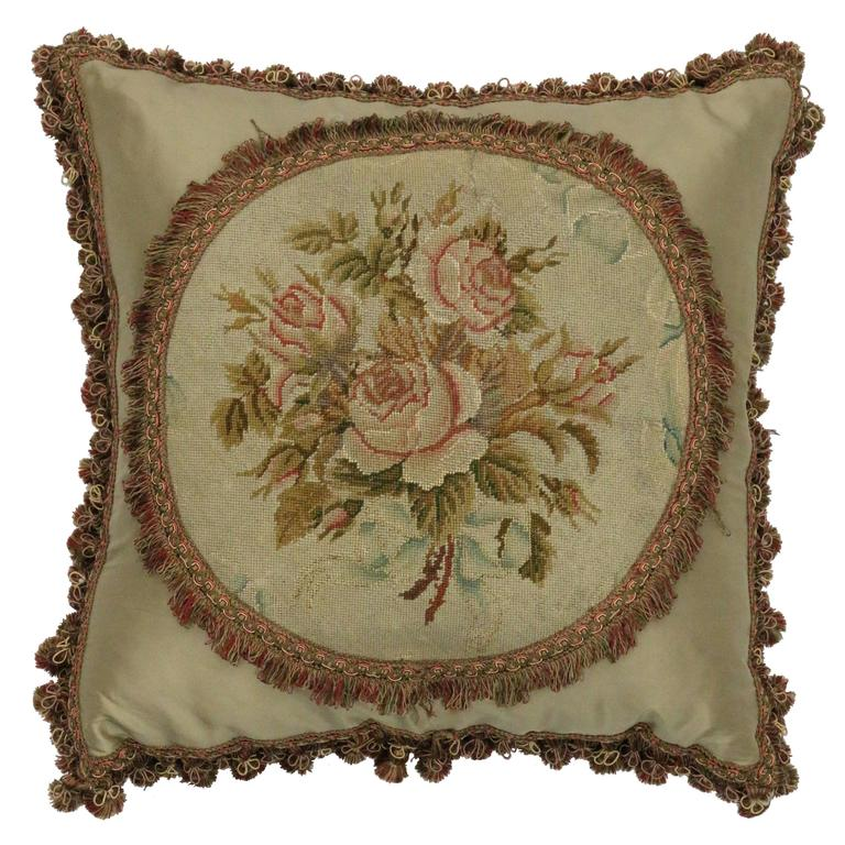 Late 19th Century Antique European Needlepoint Pillow with Aubusson Roses For Sale