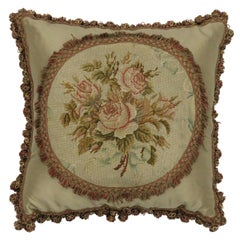 Late 19th Century Antique European Needlepoint Pillow with Aubusson Roses