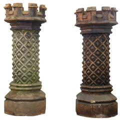 Near Pair of Victorian Gothic Large Chimney Pots