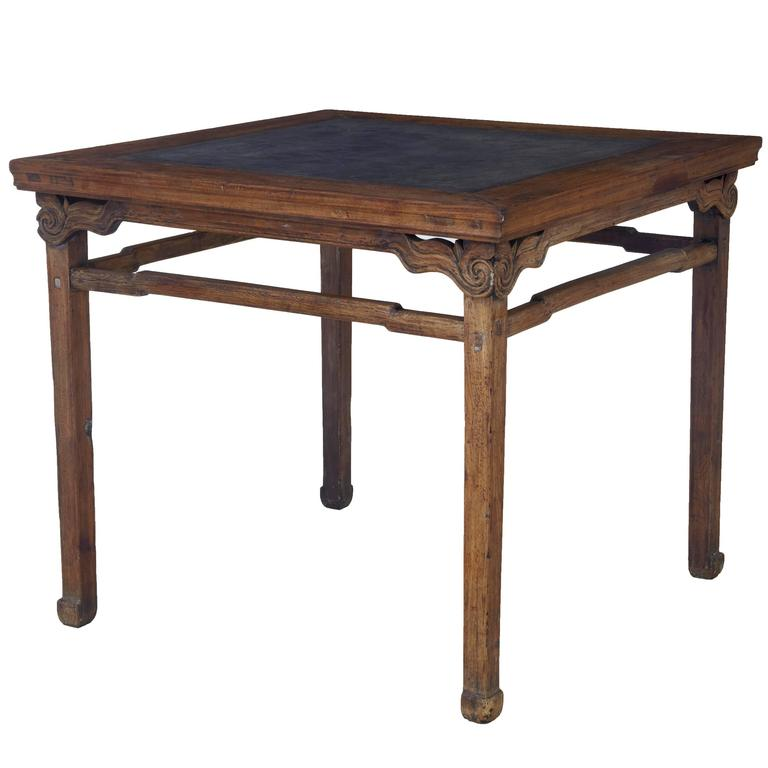Chinese Wood Table ~ Large th century chinese hard wood marble inset table