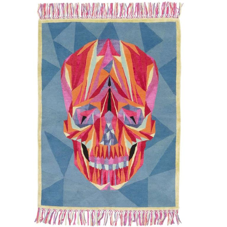DEATH ON THE DANCEFLOOR skull pop art rug by Marta Bagante for cc-tapis For Sale