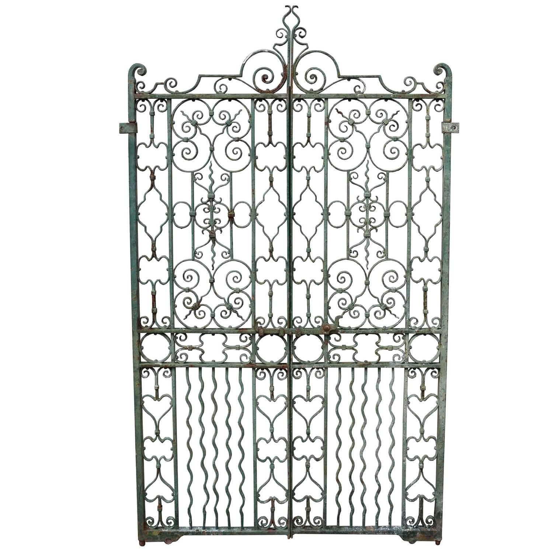 Pair of antique english wrought iron pedestrian gates for