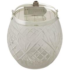 Sterling Silver and Cut Glass Biscuit Barrel, Antique Victorian