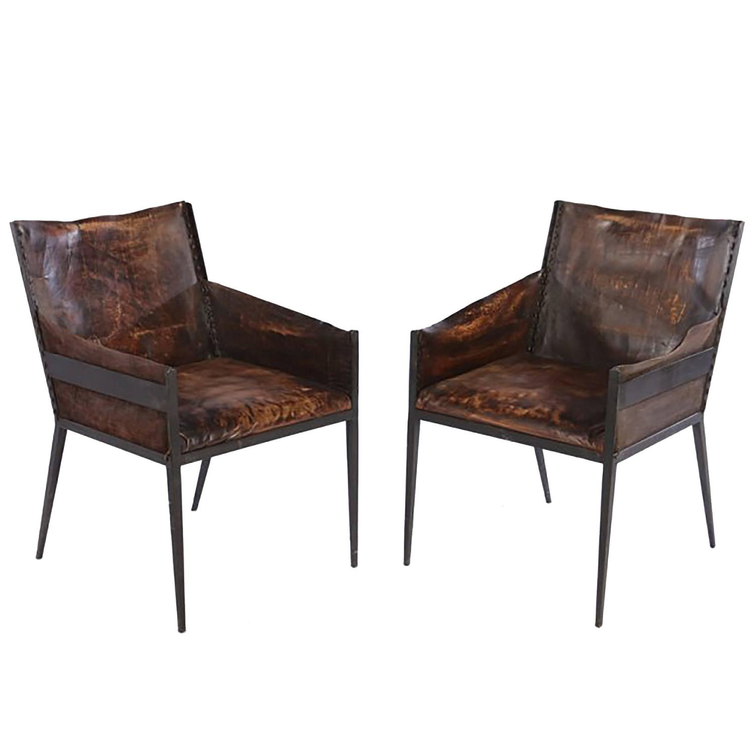 Pair of Leather and Iron Chairs at 1stdibs