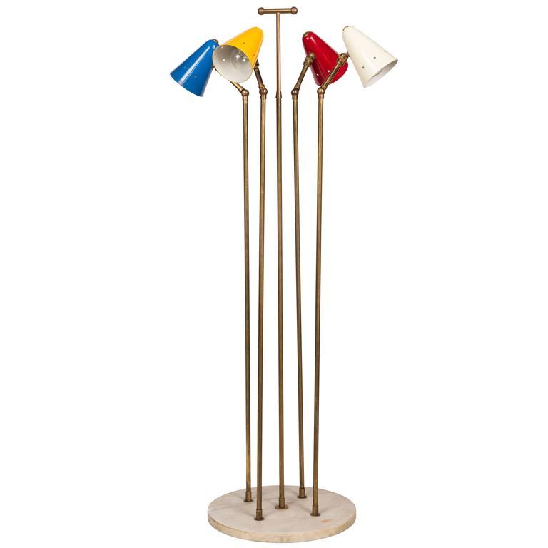 1950s Italian Four-Cone Floor Lamp in the Manner of Arteluce
