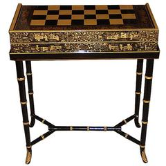 19th Century English Import Chinoiserie Black Lacquer Games or Cocktail Table