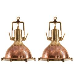 Pair of Large Copper and Brass Nautical Pendants